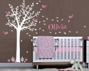 Tree Wall Decal with Birds Leaves & Customised Name