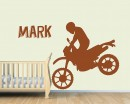 Motorcycle Boy Customised Name  Decal For Nursery