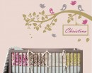 Branch with Birds Leaves Customised Name Nursery Customized Stickers