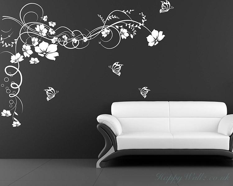 floral vines butterflies decals modern wall art