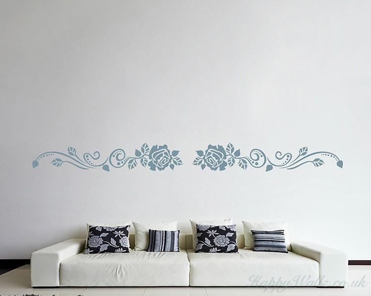 rose flower wall border decals modern wall art
