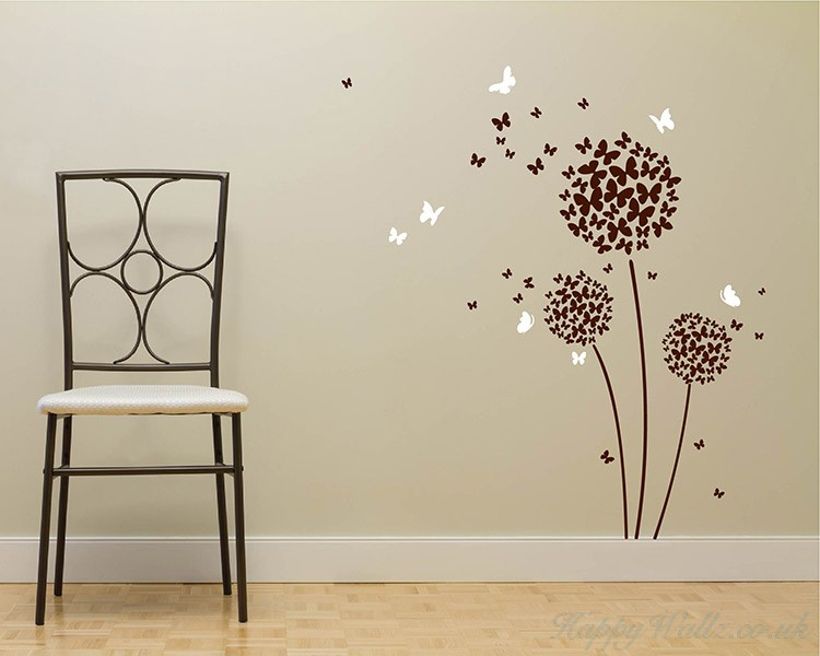 beautiful butterfly dandelion flowers wall decals