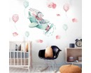Bunny Pilot And Balloons Removable Stickers for Nursery Room