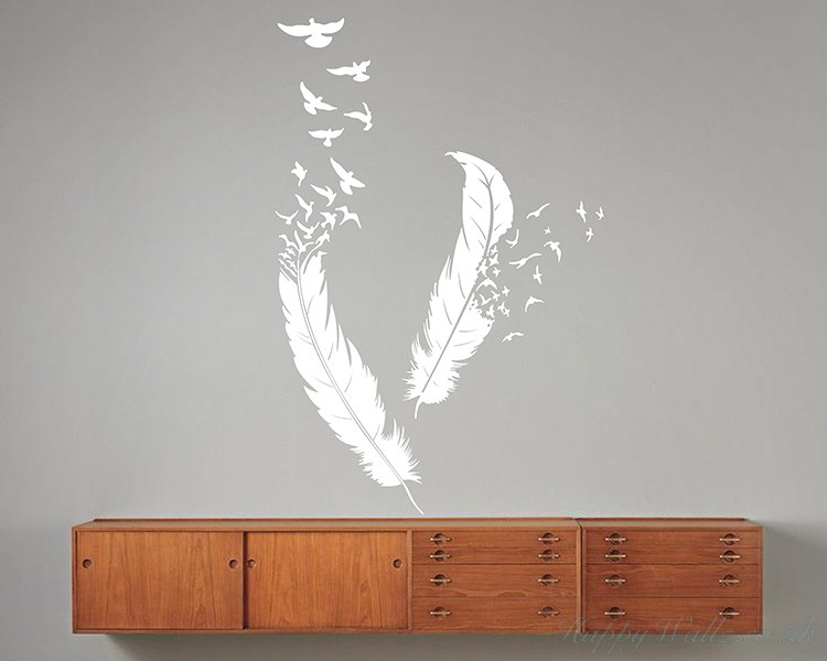 A pair of feathers decal a pair of feathers modern wall art sticker