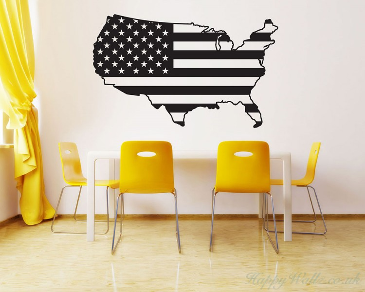 American Map City Names Decal