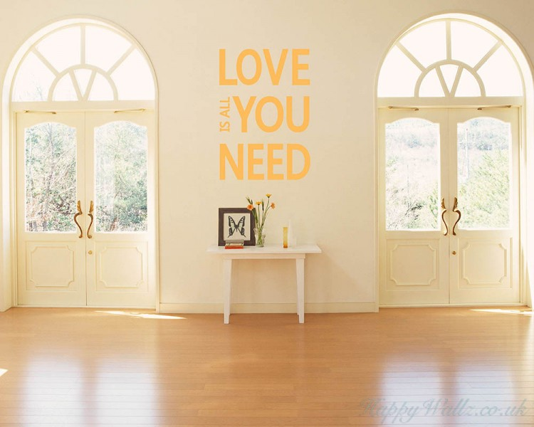 Love is All You Need Quotes Wall Art Stickers