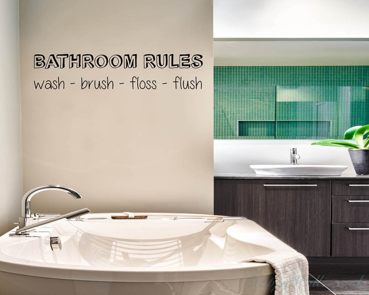 Bathroom Rules Quotes Wall  Art Stickers