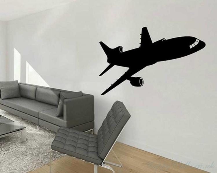 Airplane  Silhouette Modern Wall Art Sticker