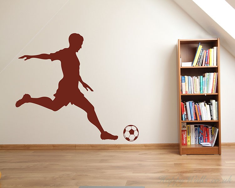 Boy Playing Soccer Silhouette Wall Decals