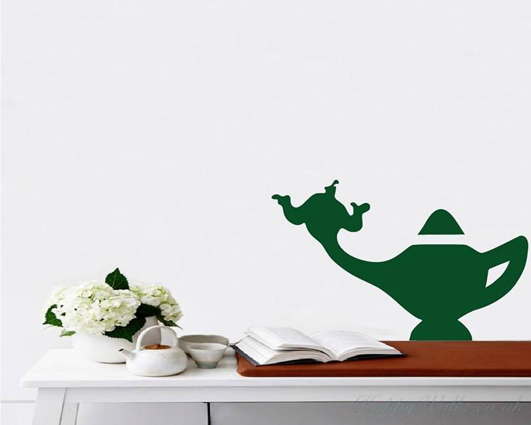 Wall Art Stickers Part - 49: Lamp Of Aladdin. Lamp Of Aladdin Silhouette Modern Wall Art Sticker
