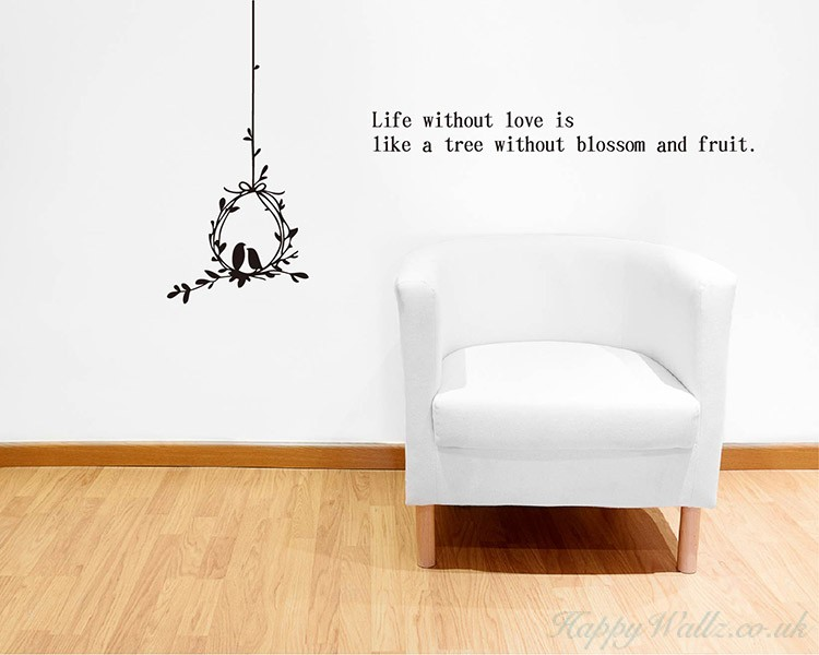 Loving Birds with Quotes Wall Decal