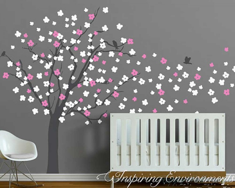 Cherry Blossom Tree Wall Decal With Birds Part 33