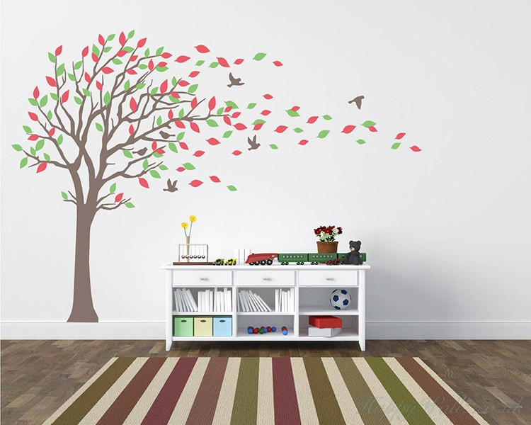 Charming Large Tree Wall Decal With Colorful Leaves Blowing In The Wind