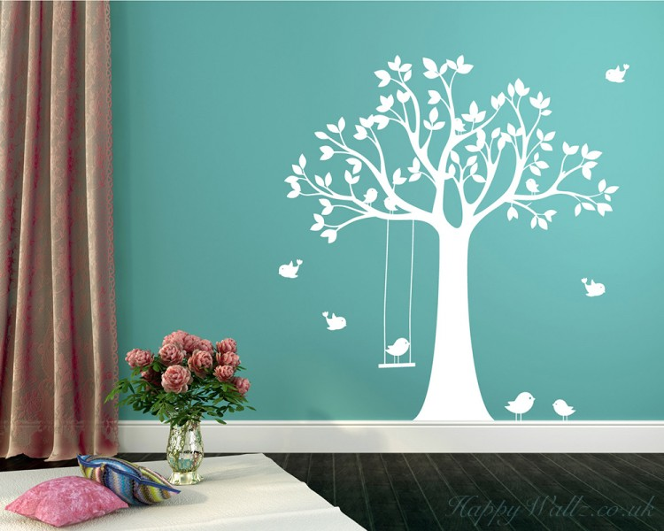 Perfect Tree Wall Decal With Swinging Birds