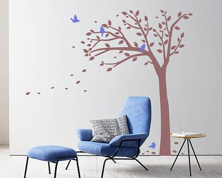 Tall Tree Wall Decal with Birds -  Tree Art Stickers