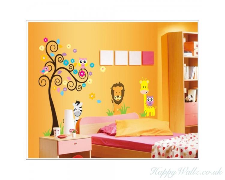 cartoon scroll tree wall stickers animals giraffe lion friends