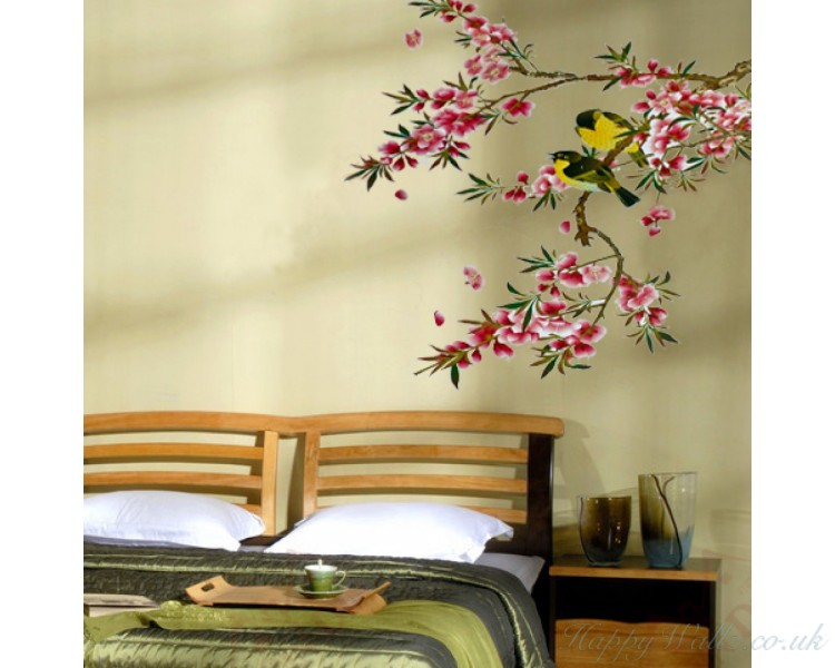 Tree Bird Flower Plants Animal Art Wall Stickers Wall decals Bedroom Wall Art