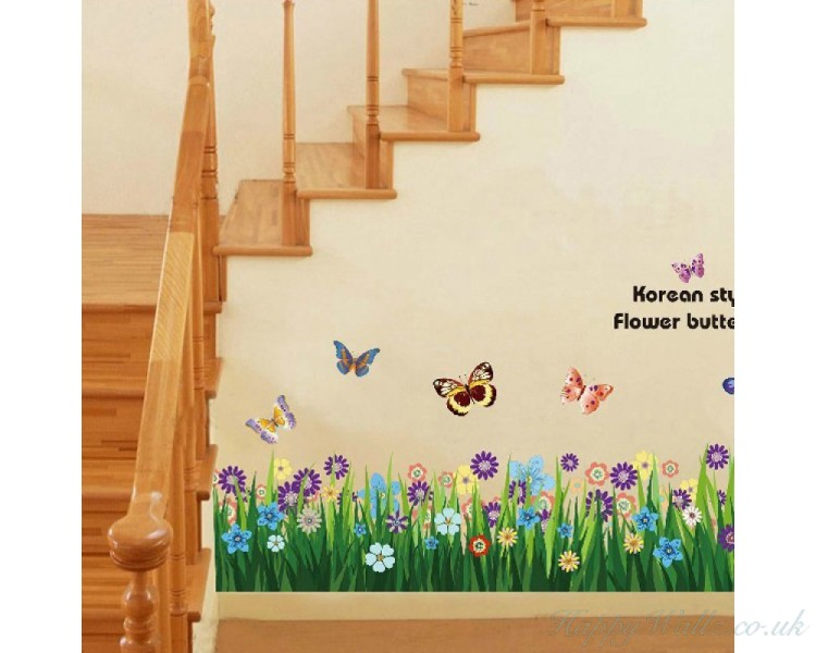 Butterfly Grass Flowers Wall Stickers Garden Flower Wall Decals For Baby Girl's Bedroom Playroom
