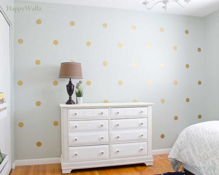 Lovely Gold Polka Dots Spots Wall Sticker Part 18