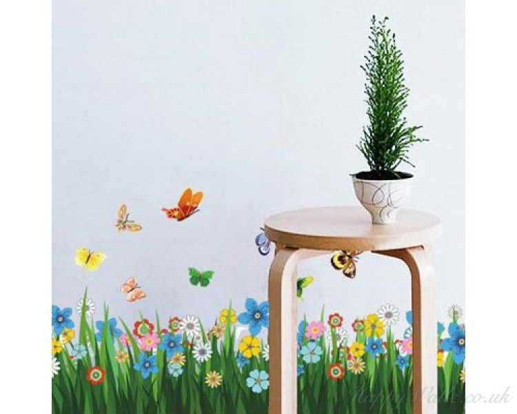 Butterfly Grass Flowers Wall Stickers Garden Flower Wall