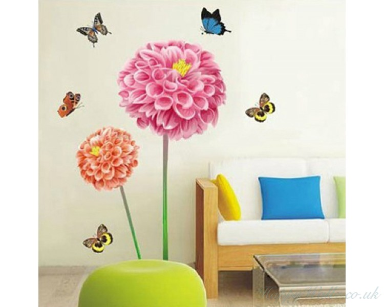 Beautiful sunflowers wall stickers butterflies wall decals for living room for bedroom wall art for Beautiful wall stickers for living room