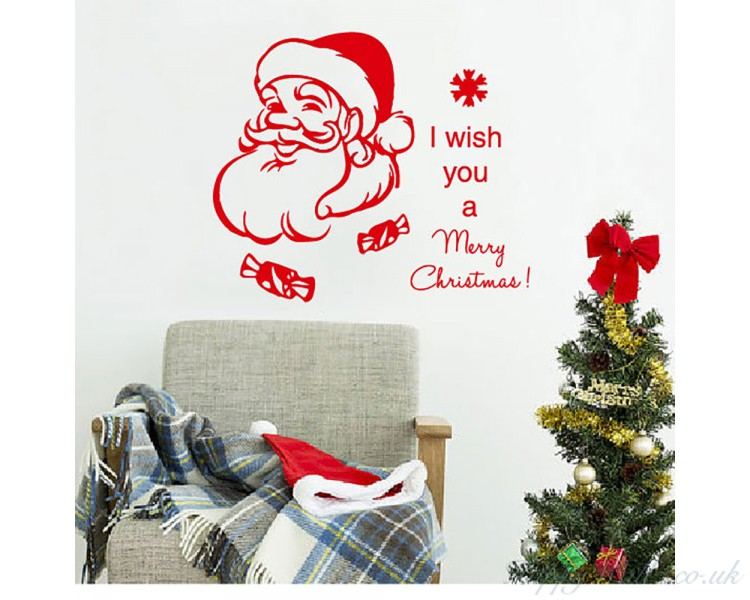 Christmas Wall Decal Quote I Wish You A Merry Christmas