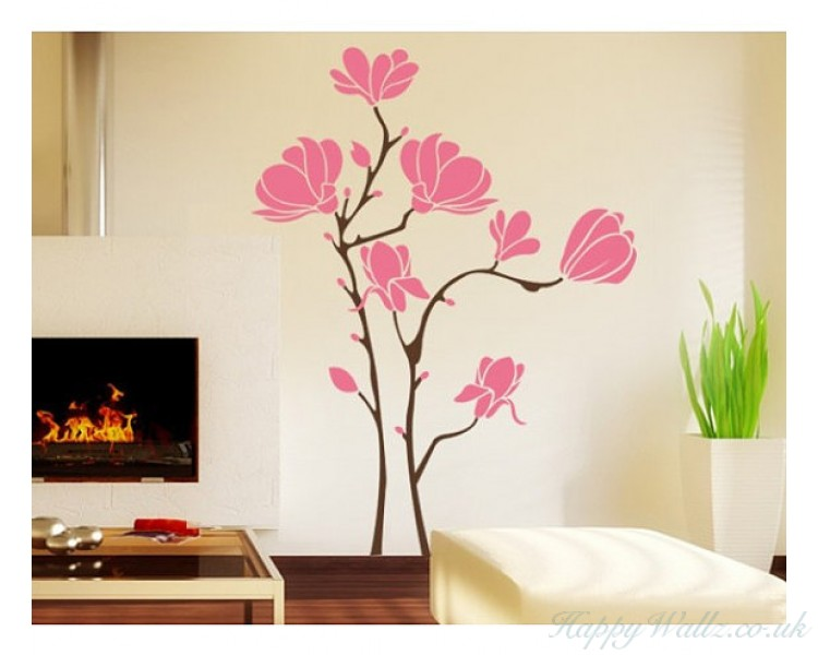 Magnolia flower wall decal for living room bedroom - Beautiful wall stickers for living room ...
