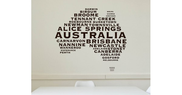 australian map city names modern wall stickers name wall stickers ebay